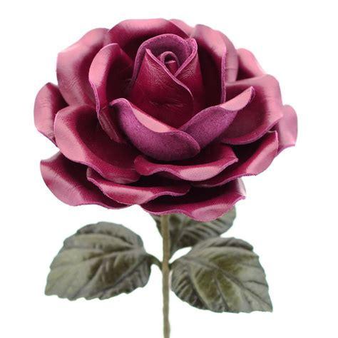 Leather Rose Long Stem Flower   Purple Violet