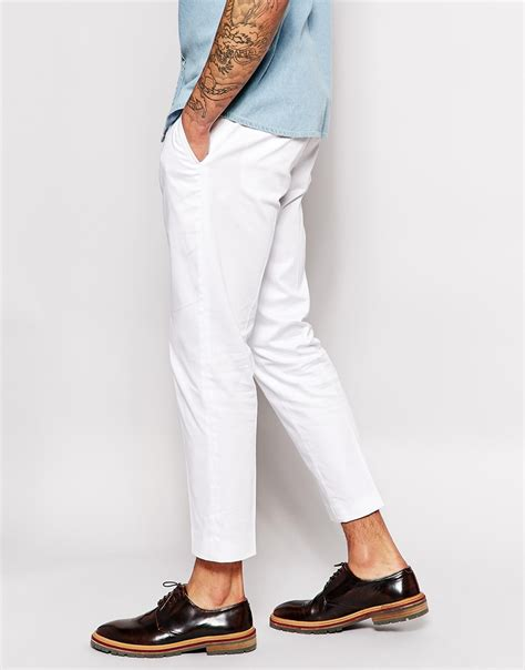 Asos Cotton Twill Trousers by Lyst Asos Smart Cropped Trousers In Cotton Sateen
