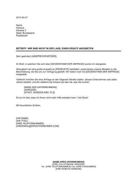 Anfrage Briefvorlage Antwort Auf Anfrage Und Unverm 246 Ersatz Anzubieten Vorlagen Und Muster Biztree