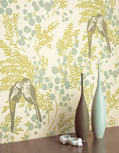 botanical print wallpaper modern wallpaper birds leaves berries blue green