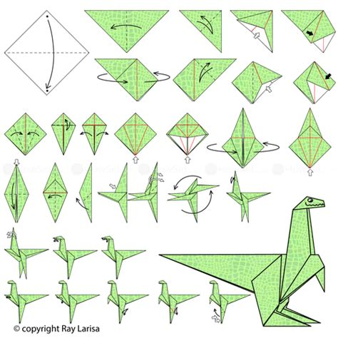 Easy Origami Dinosaur - how to make a paper dinosaur step by step www pixshark
