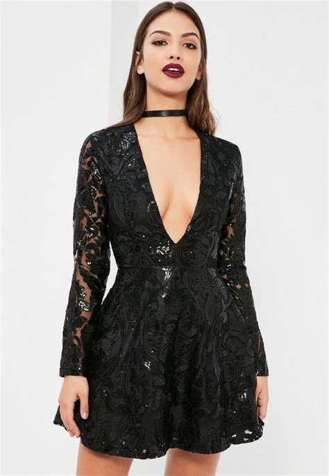black long sleeve sequin dress black sequin plunge long sleeve skater dress missguided