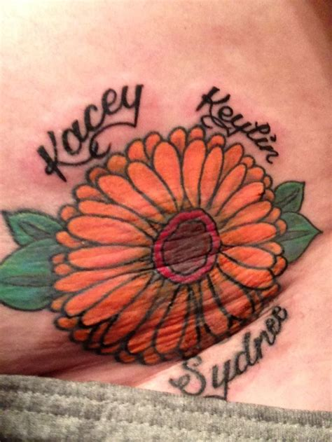 gerber daisy tattoo designs orange gerber with my children s names