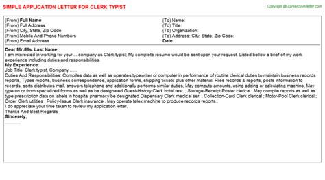 cover letter clerk typist clerk typist application letter sle