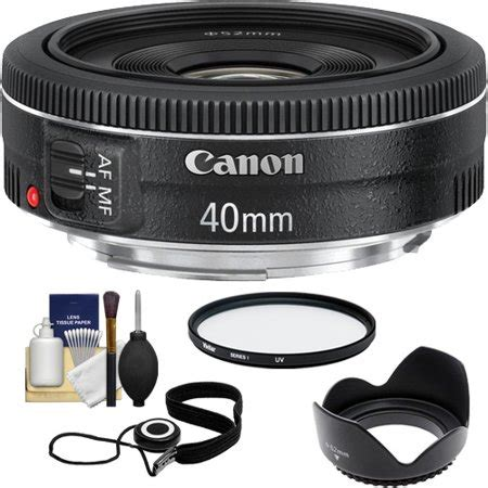 canon ef 40mm f/2.8 stm pancake lens with uv filter + hood