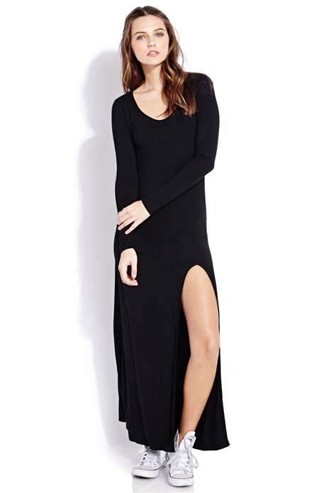 Dress Forever21 Black forever 21 posh slit maxi dress in black lyst