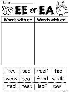 ee pattern words ee ea worksheets activities no prep phonics