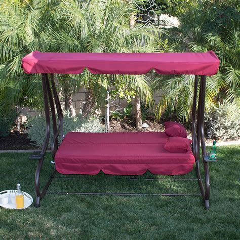 Swing Bed With Canopy Outdoor Burgundy Canopy Swing Bed Patio Deck Garden Porch