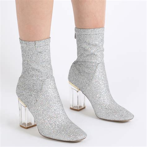 Boots E Glitter Putih New new womens zip up perspex block heel chunky ankle boots in