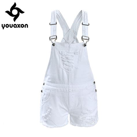 Ripped Denim Overall Shorts aliexpress buy 2017 youaxon s ripped denim shorts overall for white
