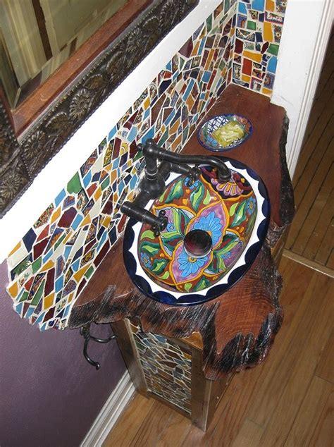 hand crafted custom fit reclaimed lumber mosaic bathroom