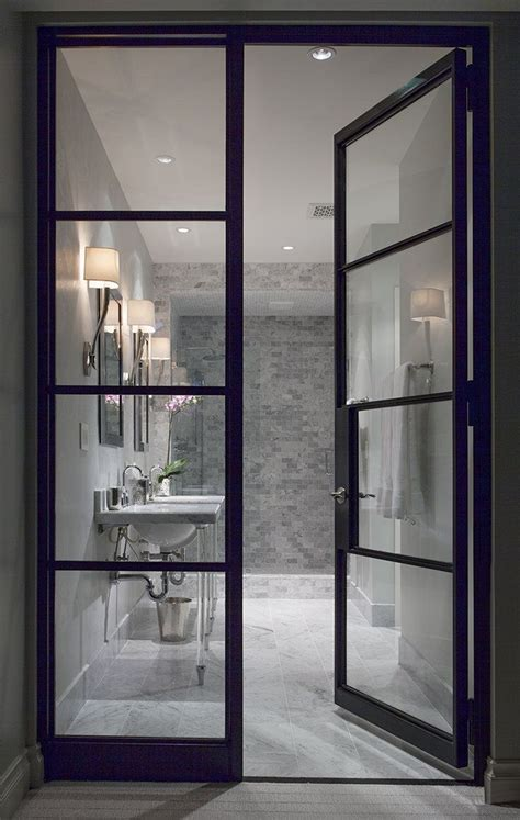 quot white room quot interior bathroom see through glass door