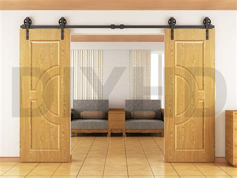 8ft 10ft 12ft Vintage Style Strap Industrial Wheel Double Barn Style Sliding Door Track
