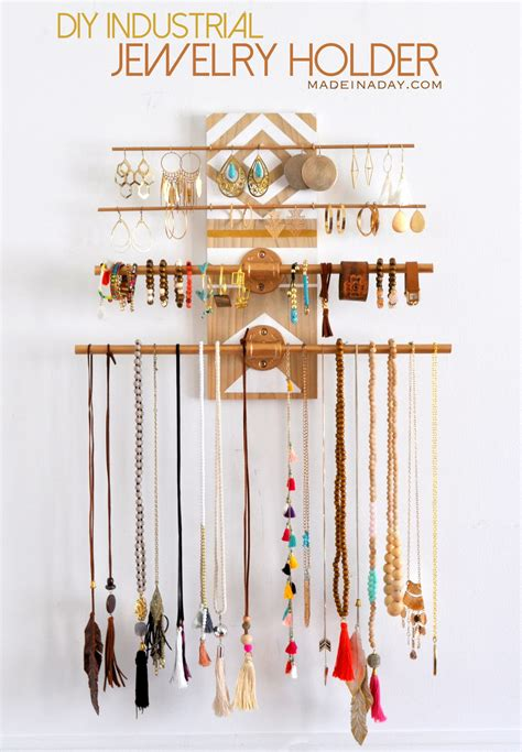 how to make jewelry organizer diy geometric industrial wall jewelry organizer made in