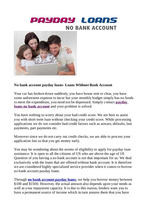 can you get a house loan without a deposit no bank account payday loans loans without bank account