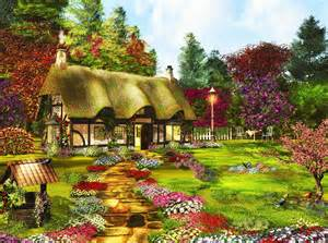 country cottage wallpaper country cottage garden lawn flowers trees