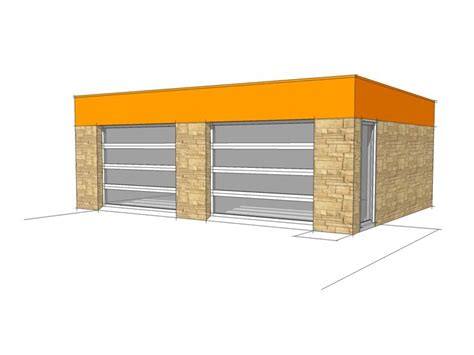 Flat Roof Garage Plans by Nomis