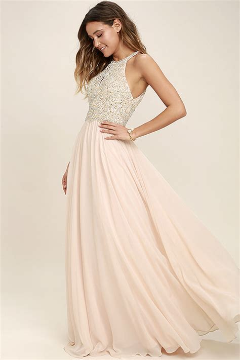 blush beaded dress lovely blush dress maxi dress beaded gown rhinestone