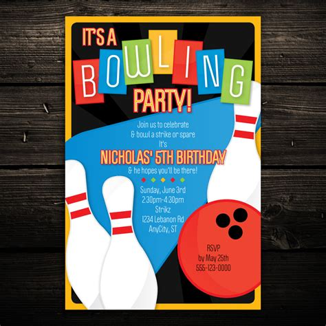 printable bowling invitation retro bowling birthday