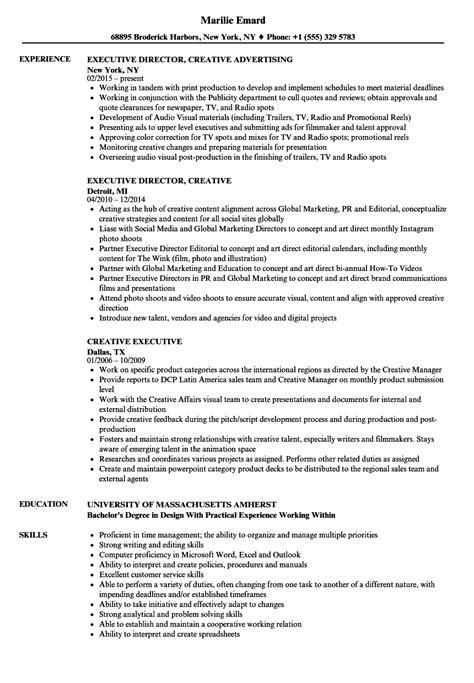 Creative Executive Sle Resume by Creative Executive Resume Sles Velvet