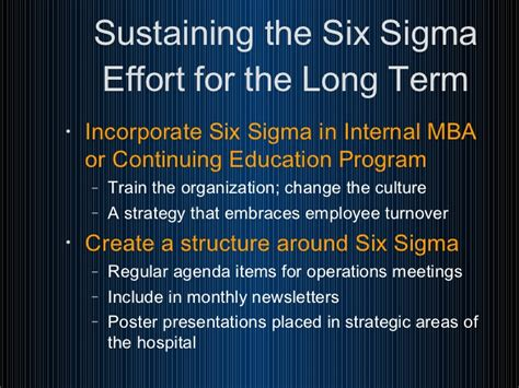 Mba And Six Sigma by Successfully Applying Six Sigma In A Healthcare Organization