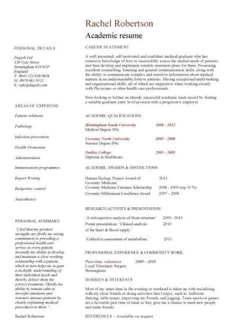 Resume Template Undergraduate by Academic Cv Template Curriculum Vitae Academic Cvs