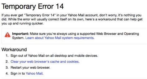 Email Yahoo Error | temporary error 14 fix while yahoo mail login down