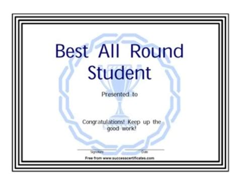 best student certificate template best student certificate an award for the all rounder