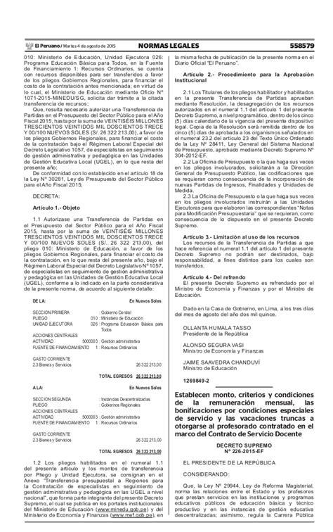 decreto supremo n 220 2015 ef que modifica el reglamento establecen monto criterios y condiciones de la