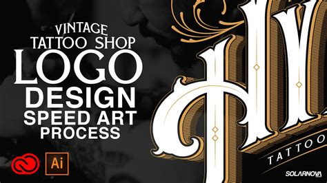tattoo shop logo design vintage shop logo design illustrator cc speedart