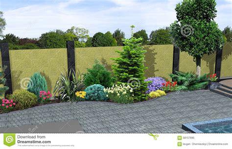 landscape design plants grouping 3d render stock illustration image 58157695