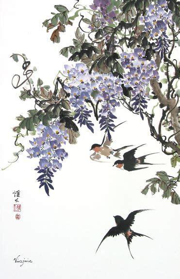 紫藤花和燕子关于春天的国画作品分享 国画 5068儿童网