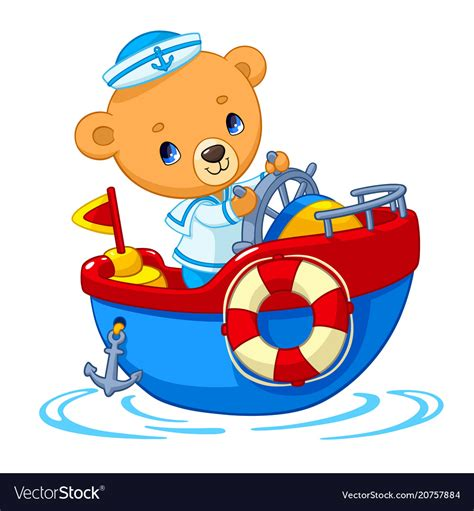 toy boats cartoon bear sailor on boat cartoon royalty free vector image