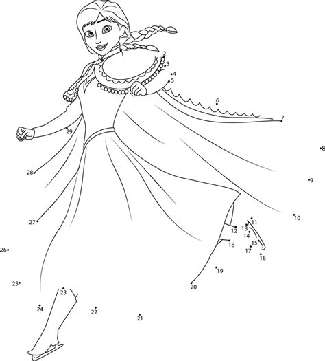 printable frozen dot to dot anna ice skating dot to dot printable worksheet