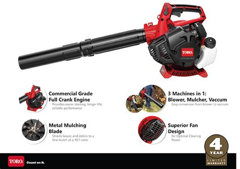 toro 150 mph 460 cfm 25 4cc 2 cycle handheld gas leaf