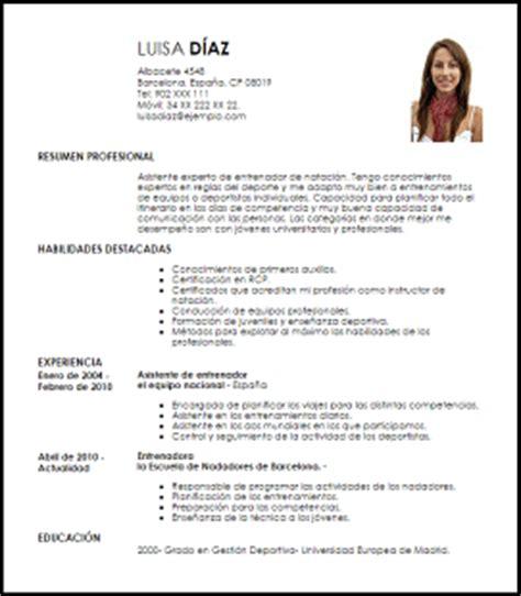 Modelo Curriculum Vitae Monitor Deportivo Modelo Curriculum Vitae Asistente De Entrenador De Nataci 243 N Livecareer