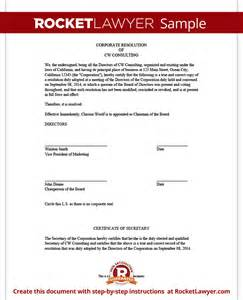 corporate resolution authorized signers template corporate resolution