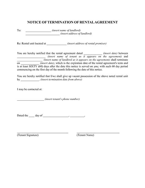 Lease Termination Letter 60 Days best photos of 60 day rent increase notice 60 day notice