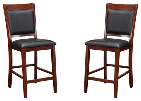 Black Leather Counter Height Chairs Upholstered Counter Height Wood Dining Chairs Black Faux