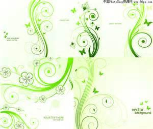 eps格式绿色蝴蝶藤蔓花纹矢量素材免费下载 中国photoshop资源网 ps教程 psd模板 照片处理 ps素材