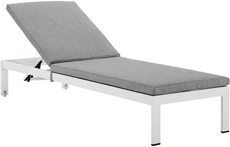 aluminum chaise shore white gray aluminum outdoor patio chaise with