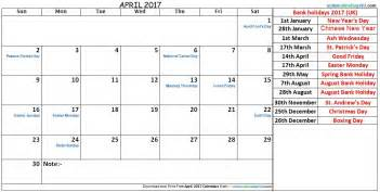 2017 Monthly Calendar With Holidays April 2017 Calendar With Holidays Monthly Calendar 2017