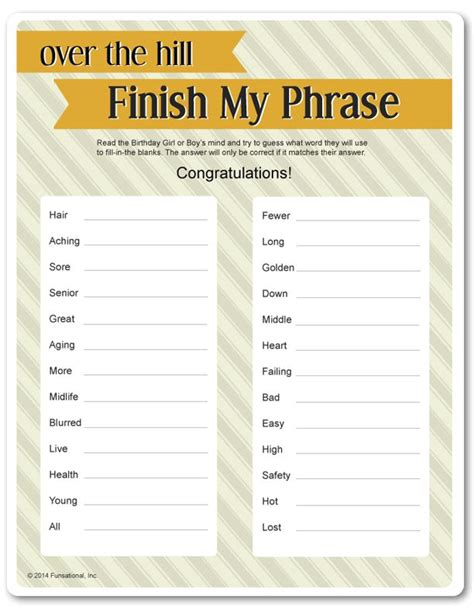 printable party games free printable over the hill finish my phrase games