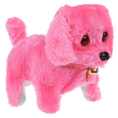 pink toy pink plush neck bell walking barking electronic dog toy