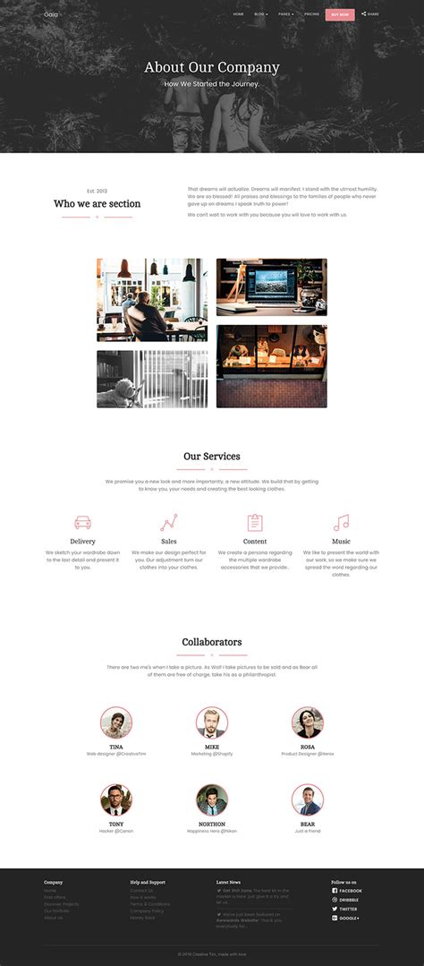 bootstrap templates for about us gaia bootstrap template