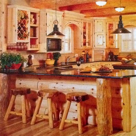 Log Cabin Kitchen Islands by Log Cabin Kitchen Cabin Decorating Ideas