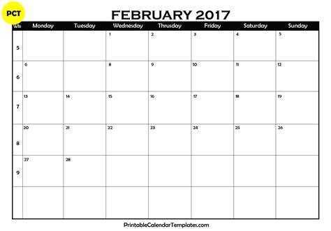 Kalender Februar February 2017 Calendar Printable Printable Calendar