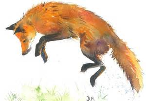 Pomeroy Home Decor jumping fox print originally watercolor foxy foxes