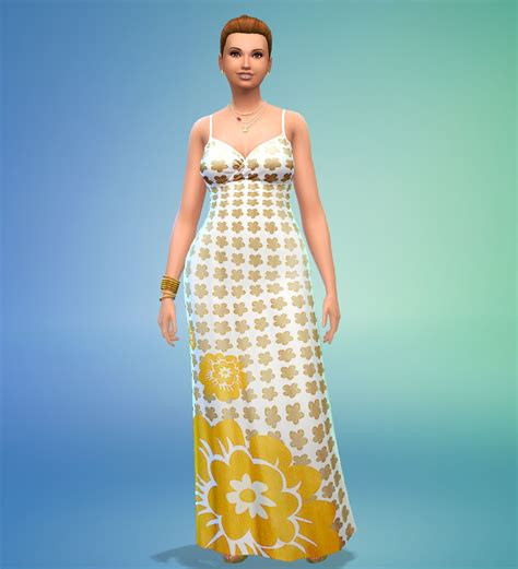 Flowerly Maxy mod the sims flowery maxi dress maxis recolor
