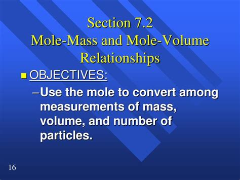 section 10 2 mole mass and mole volume relationships ppt section 7 1 the mole a measurement of matter